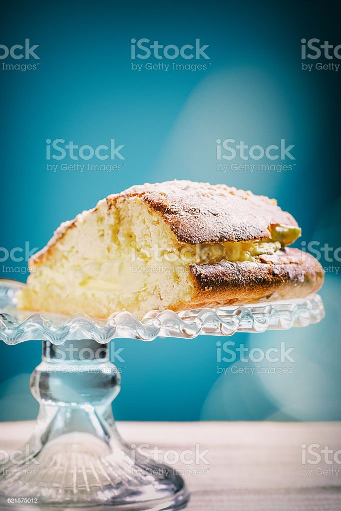 Single Slice of Tropezienne Cream Cake stock photo