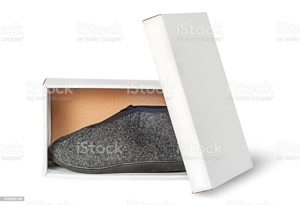 Single slipper in white cardboard box with lid stock photo
