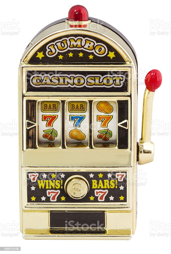 A single slot machine standing upright with 3 sevens stock photo