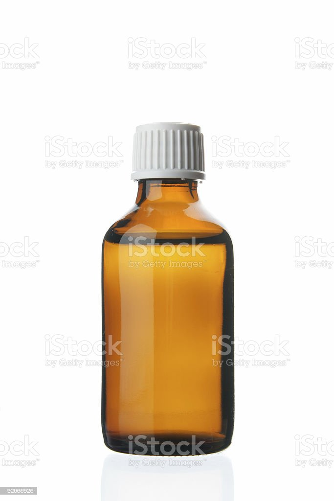 Single small bottle with drug stock photo