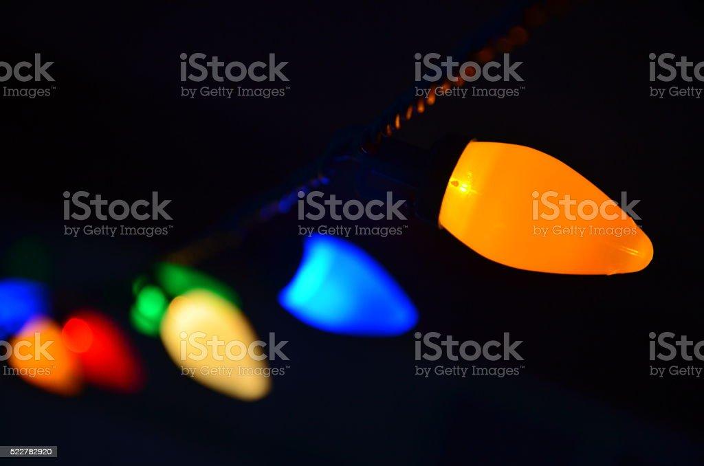 Single Strand of Multicolored Christmas Lights stock photo