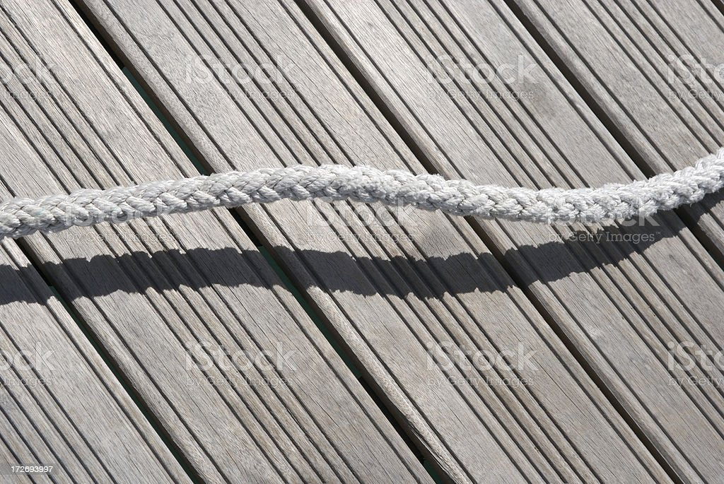 Single Strand of Textured White Rope w Shadow royalty-free stock photo