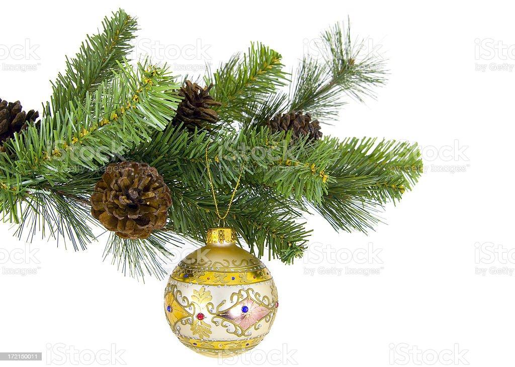 Single symbolic Chrismas ball on the tree royalty-free stock photo