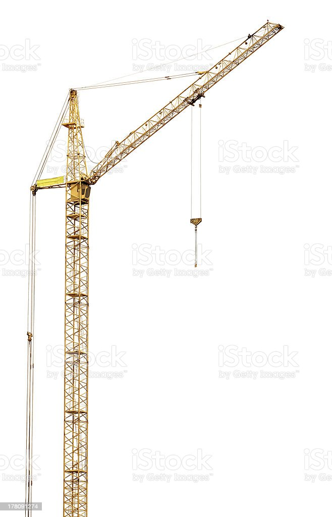 single tall yellow isolated hoisting crane stock photo