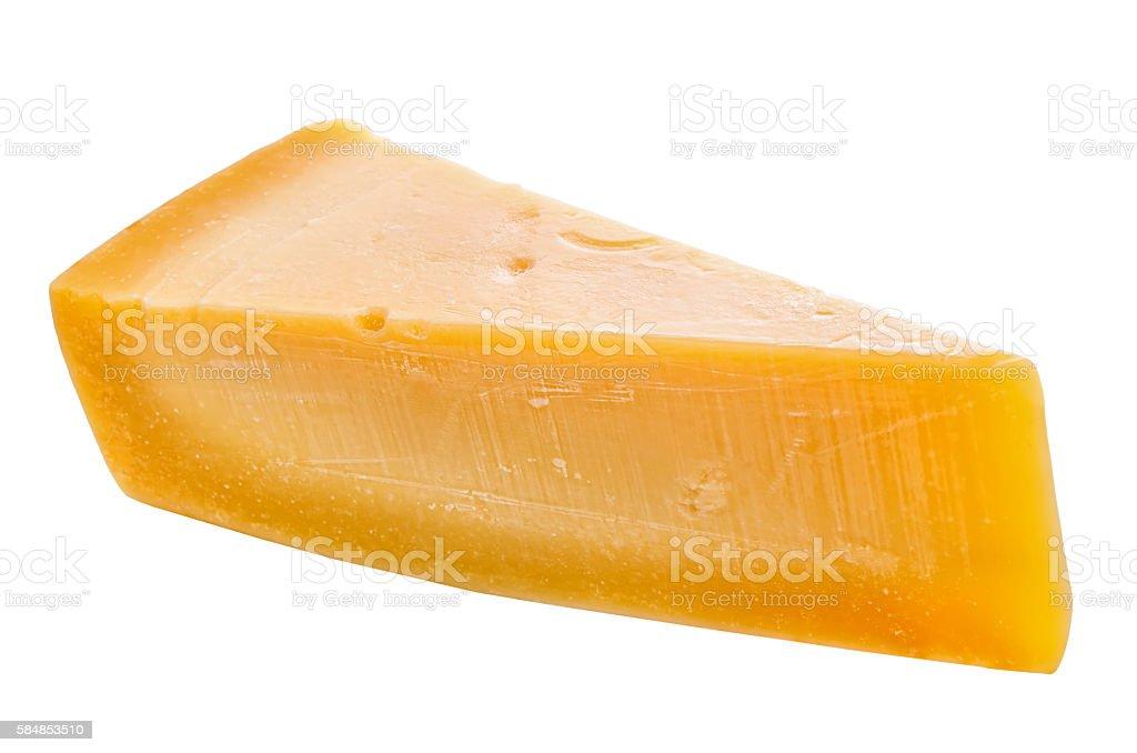 single tasty fresh yellow big segment piece of parm cheese stock photo