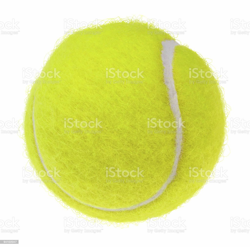 A single tennis ball isolated on a white background royalty-free stock photo