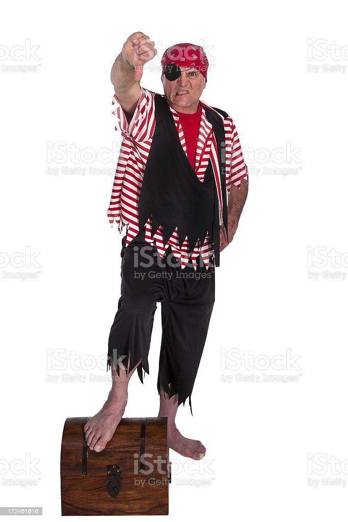single thumbs down pirate on chest royalty-free stock photo
