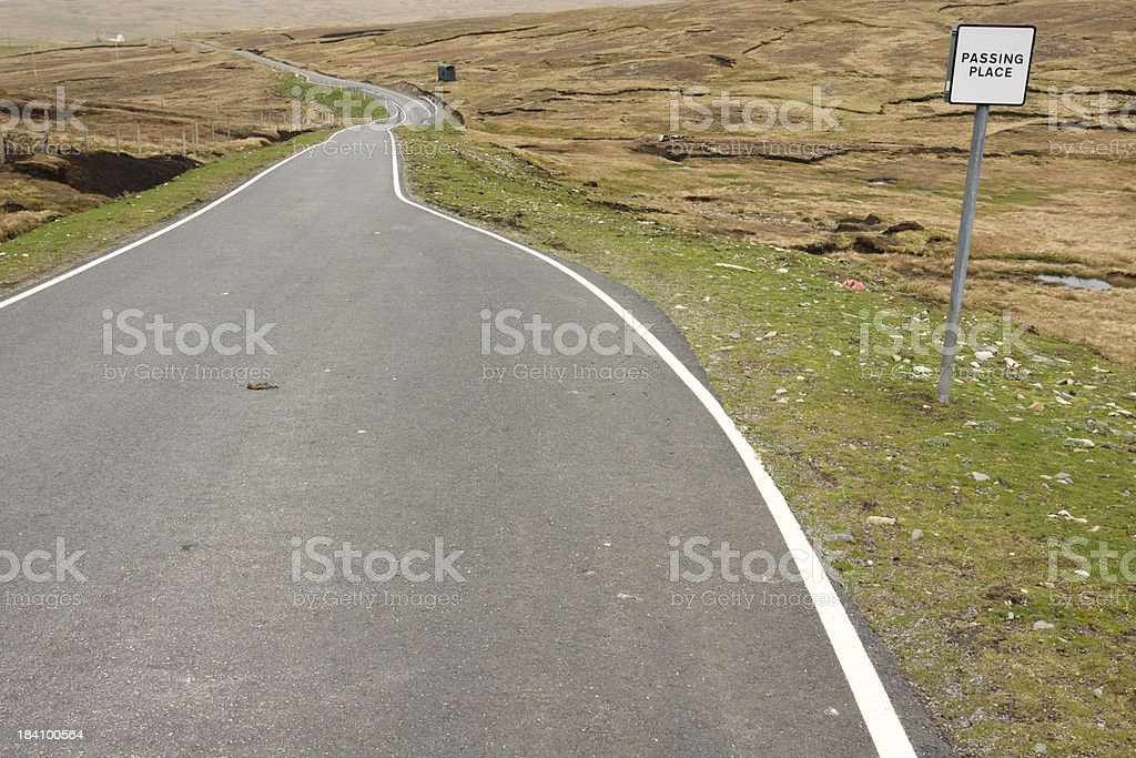 Single track road in Shetland stock photo