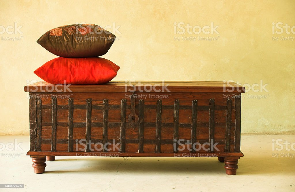 Single trunk with cushions royalty-free stock photo