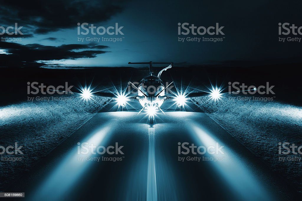 Single turboprop aircraft on the groun stock photo