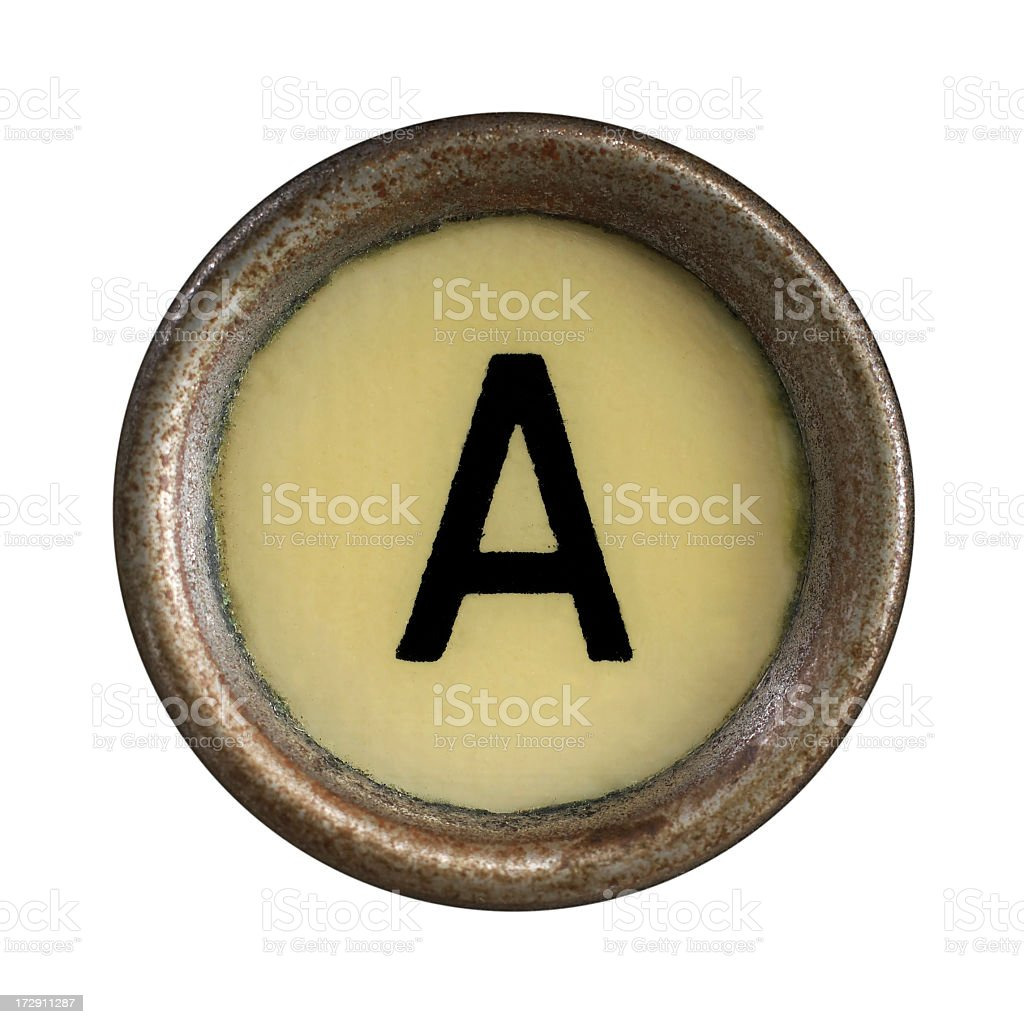 Single typewriter letter A on white background stock photo
