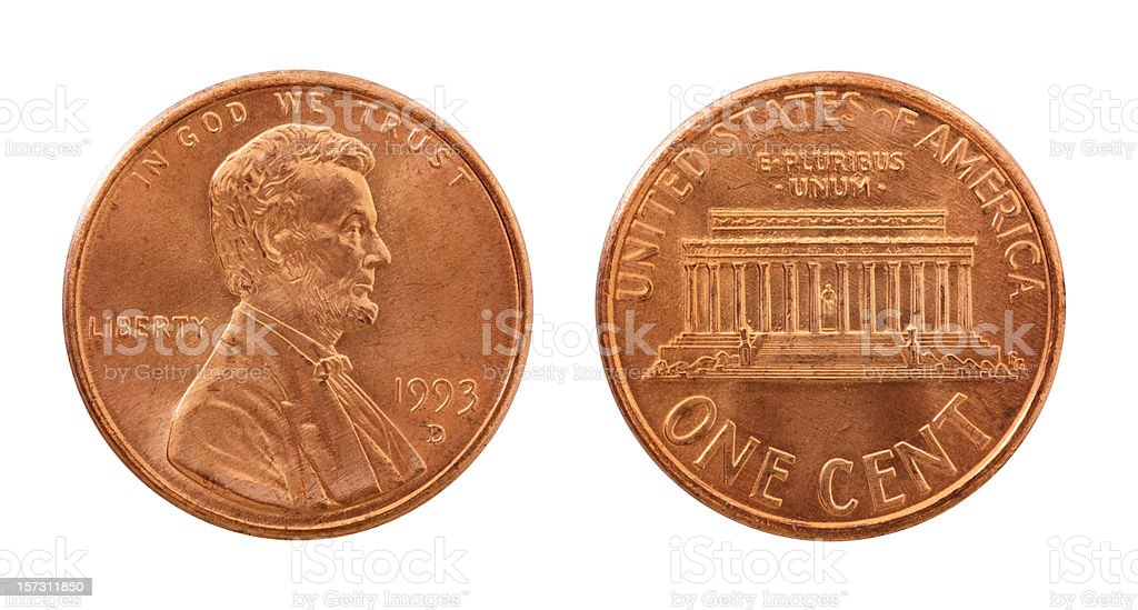 Single used 1993 US penny on white (both sides) royalty-free stock photo