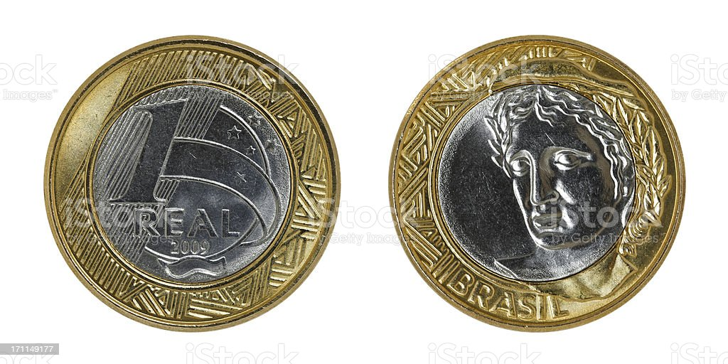 Single used Brazilian one Real coin, isolated on white (2009) royalty-free stock photo