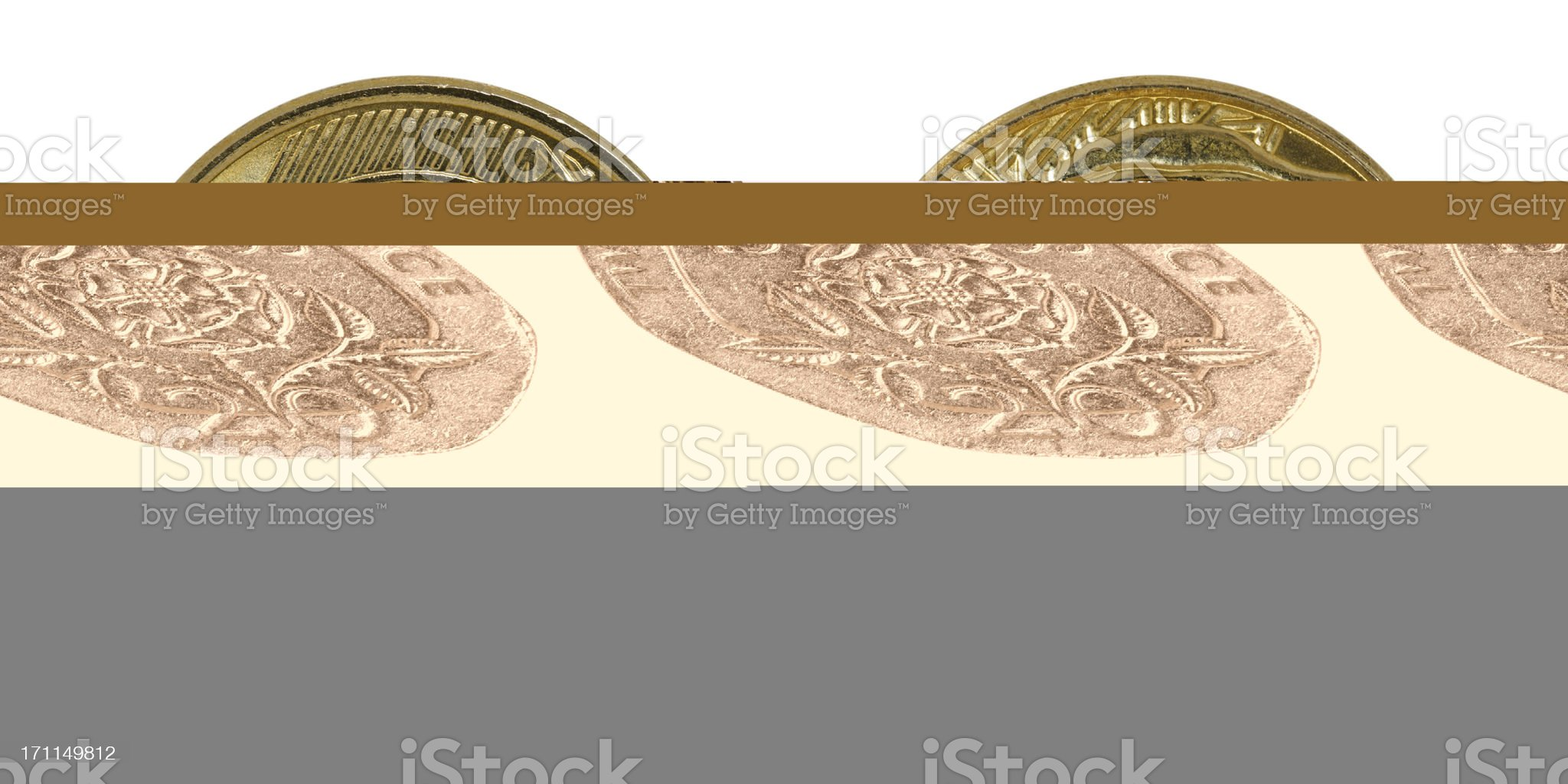 Single used twenty Pence coin from 1995, isolated on white royalty-free stock photo