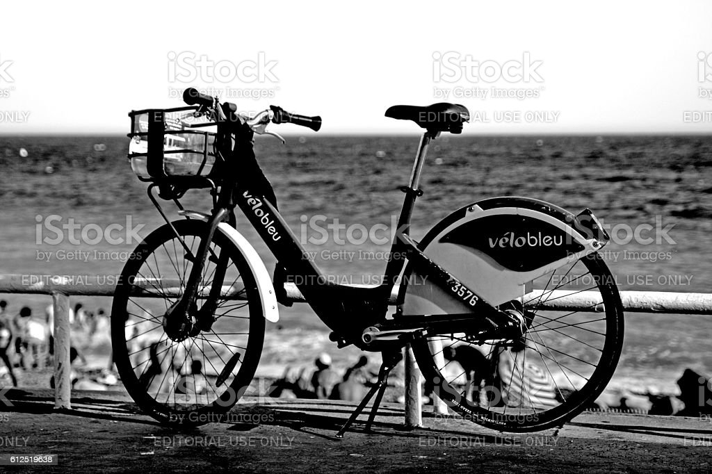 Single Velobleu bike for hire in Nice,France stock photo
