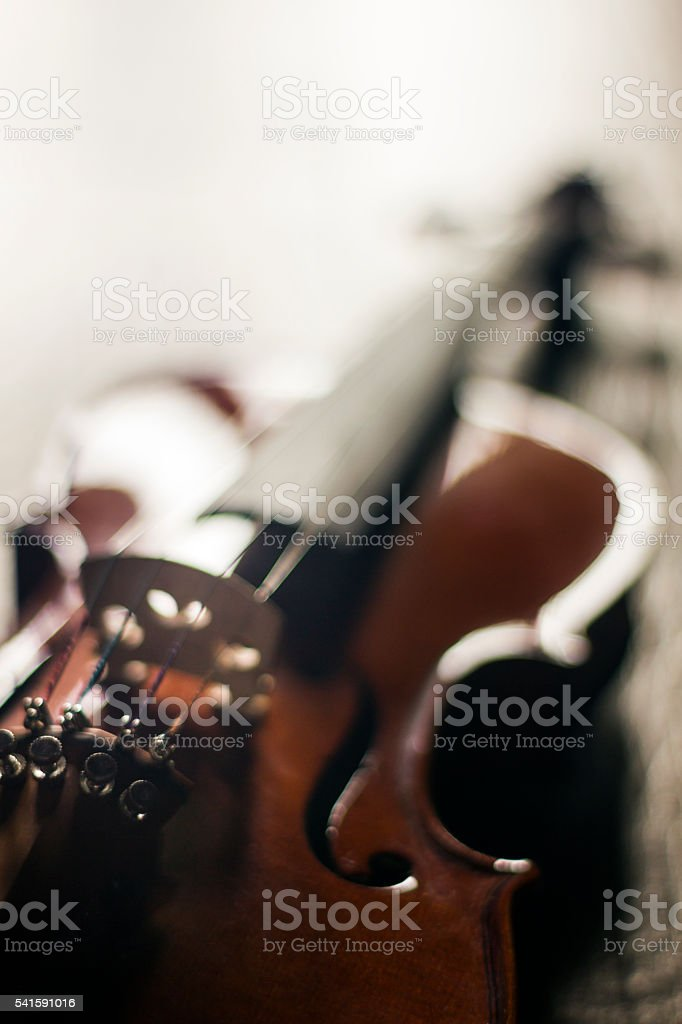 Single Violin Over Abstract Background stock photo