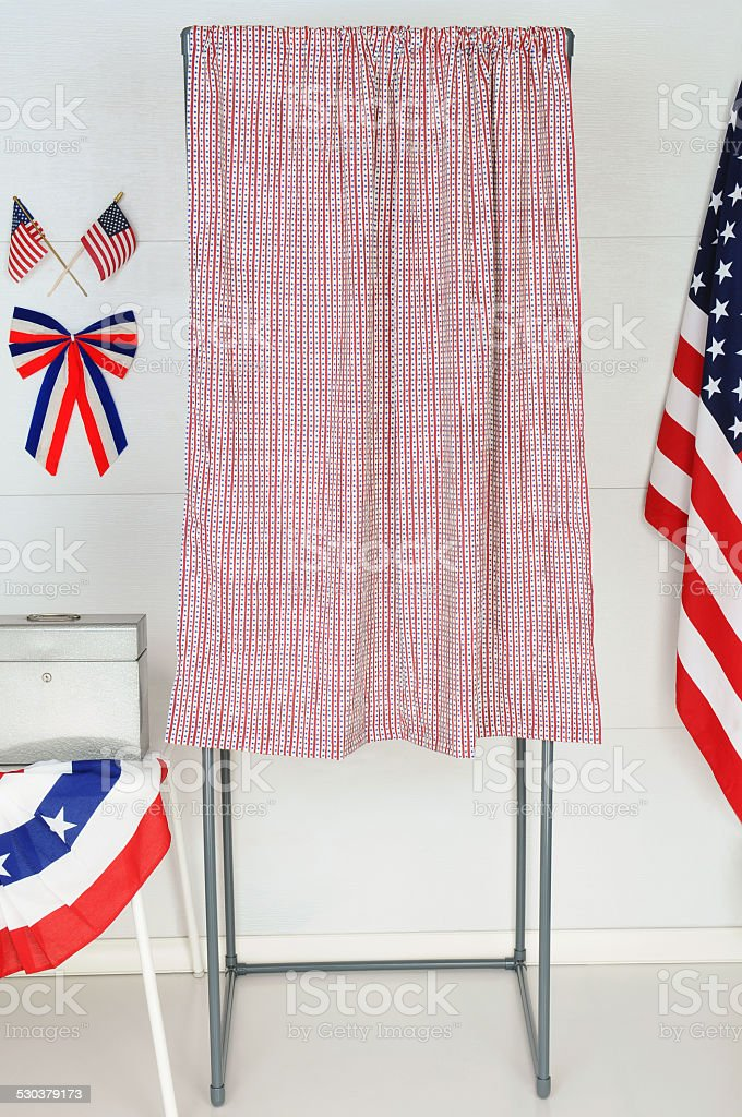 Single Voting Booth stock photo