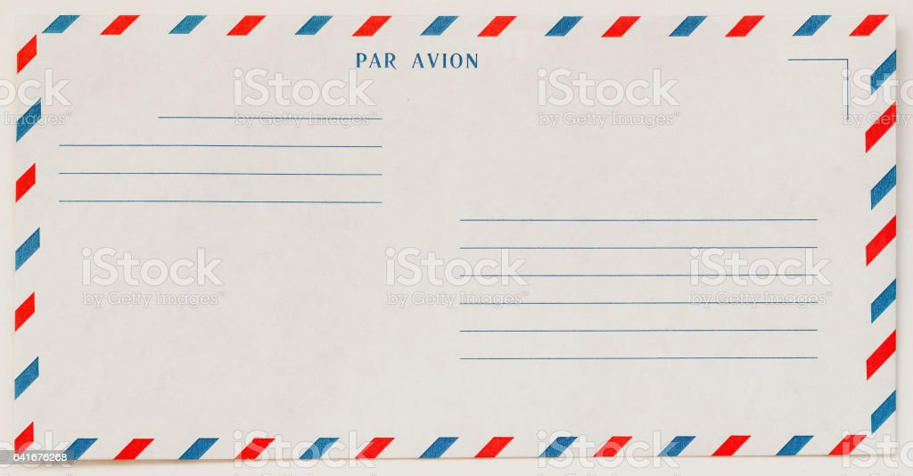 Single white Airmail Envelope Front , for background. Paper texture. With place your text. Concept of postal development, written correspondence stock photo
