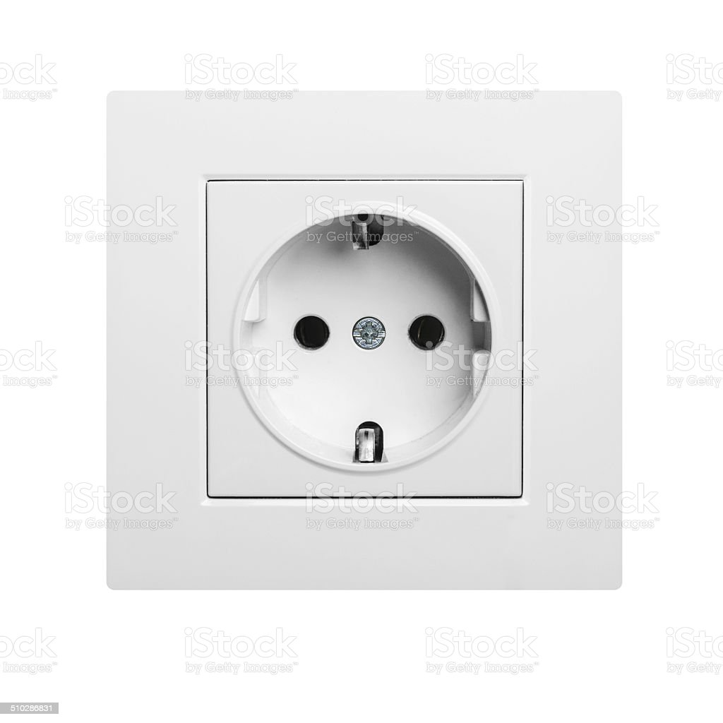 single white electric socket isolated stock photo