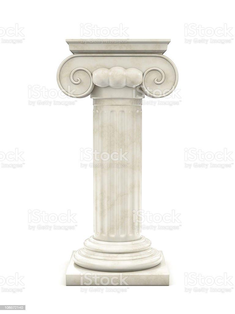 Single white marble column against plain white background royalty-free stock photo