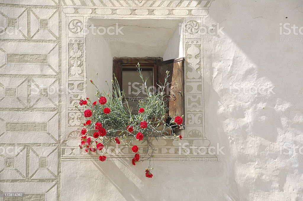 Single Window with Cranesbill royalty-free stock photo