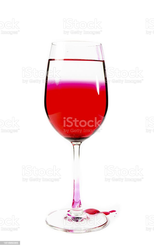 single wine glass unclean with red water royalty-free stock photo