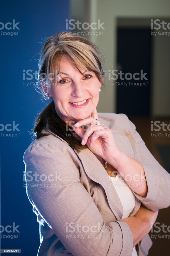 single woman in the hall stock photo