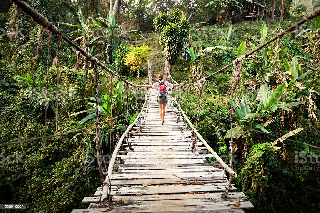 Single woman with backpack on suspension bridge in rainforest stock photo