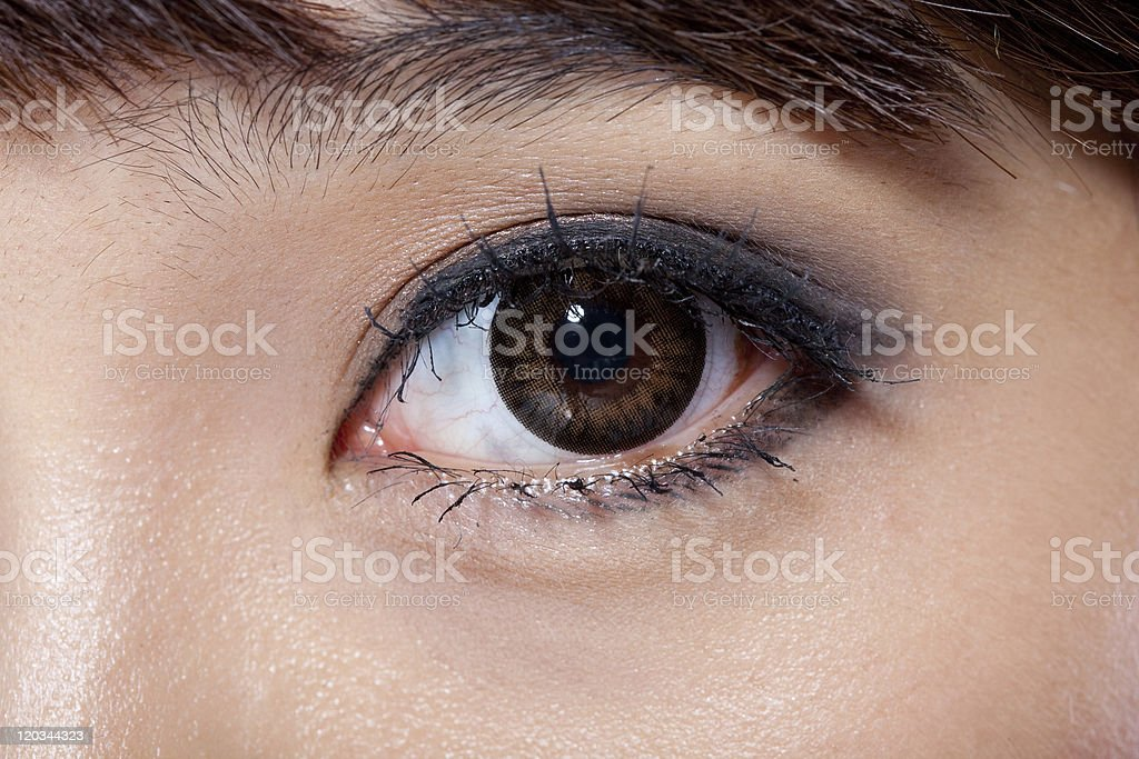 single woman's left eye stock photo