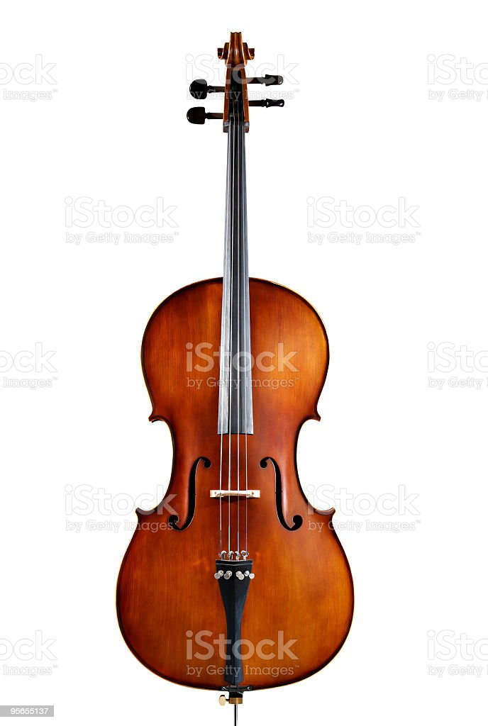 A single wooden cello on a white background stock photo