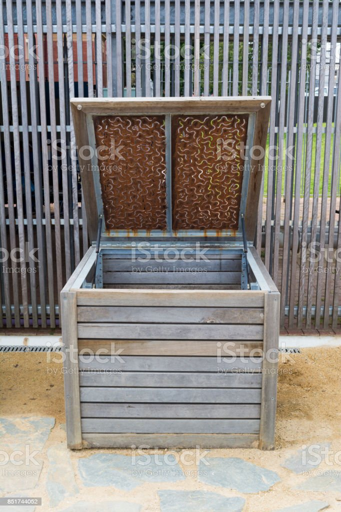 Single Wooden Composting Bin stock photo