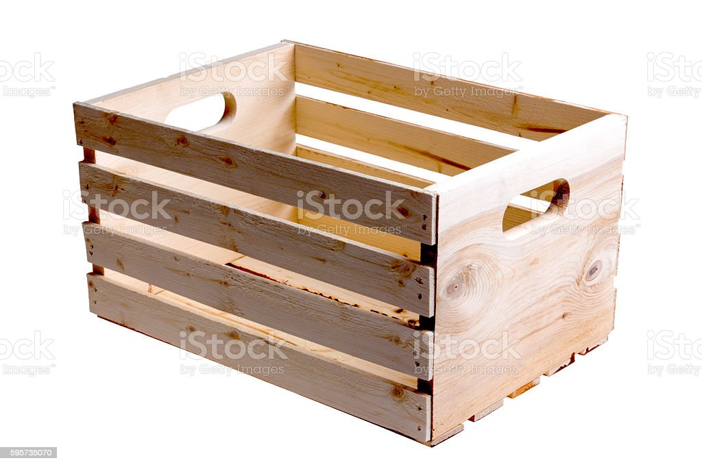 Single wooden fruit crate stock photo