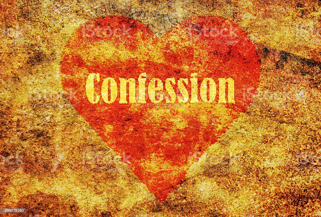 Single word Confession stock photo