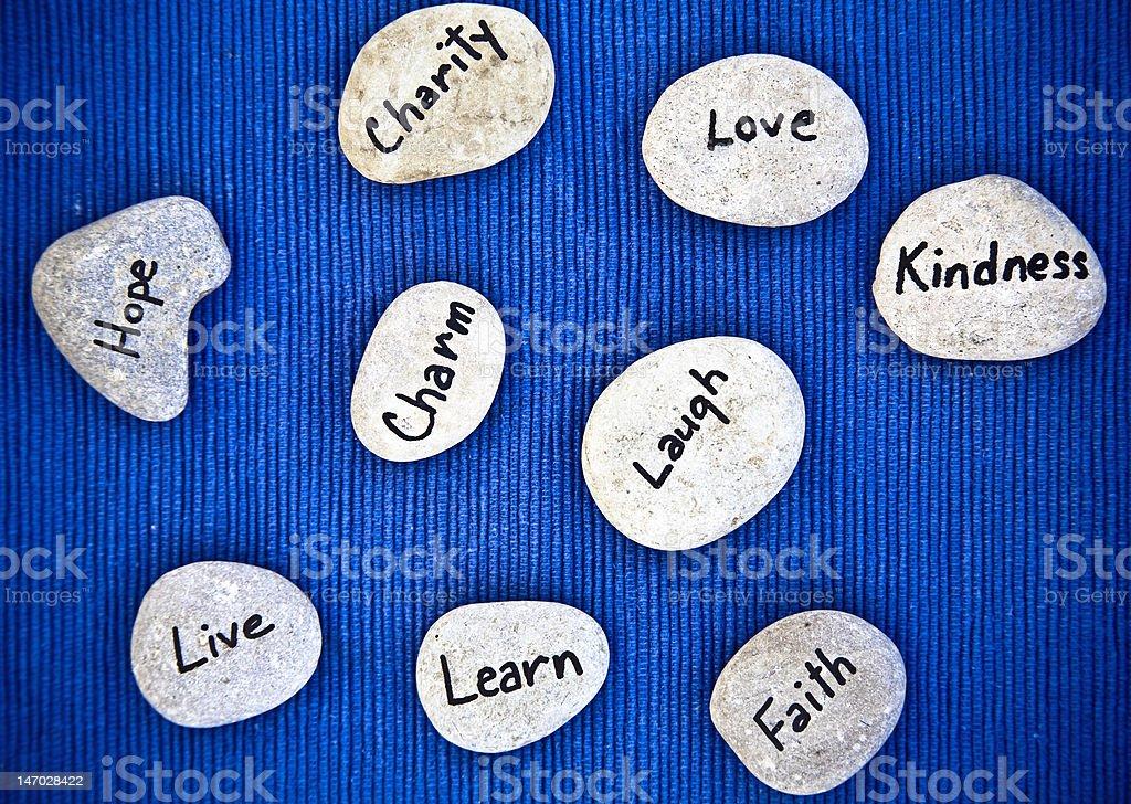 Single Word Inspirational Stones royalty-free stock photo
