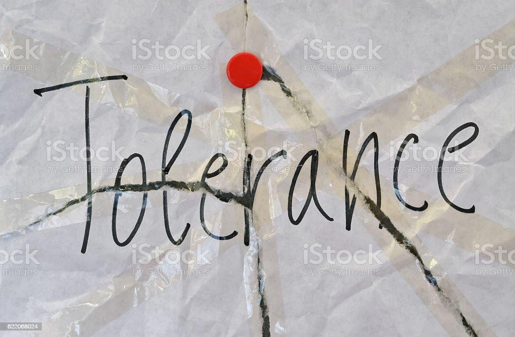 Single word Tolerance stock photo