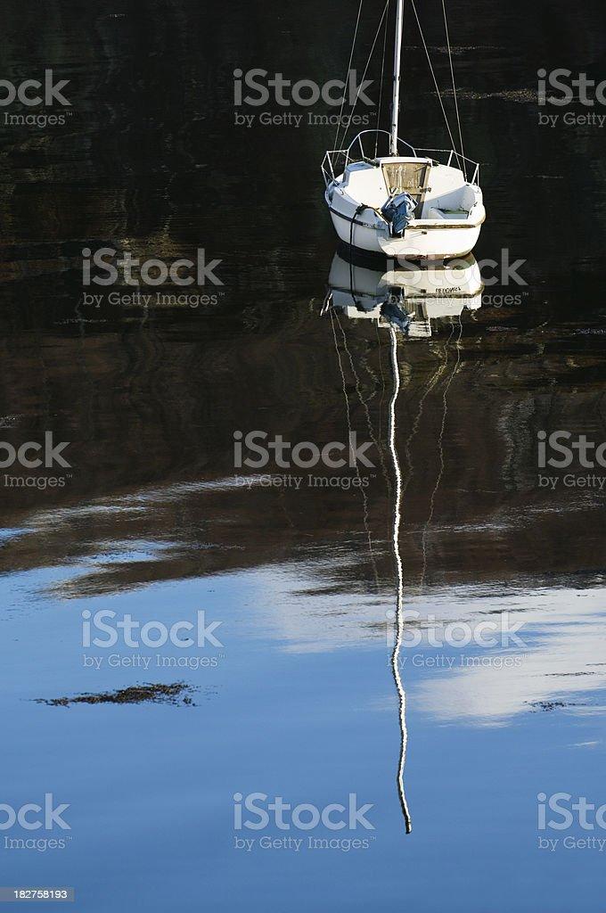 Single yacht royalty-free stock photo