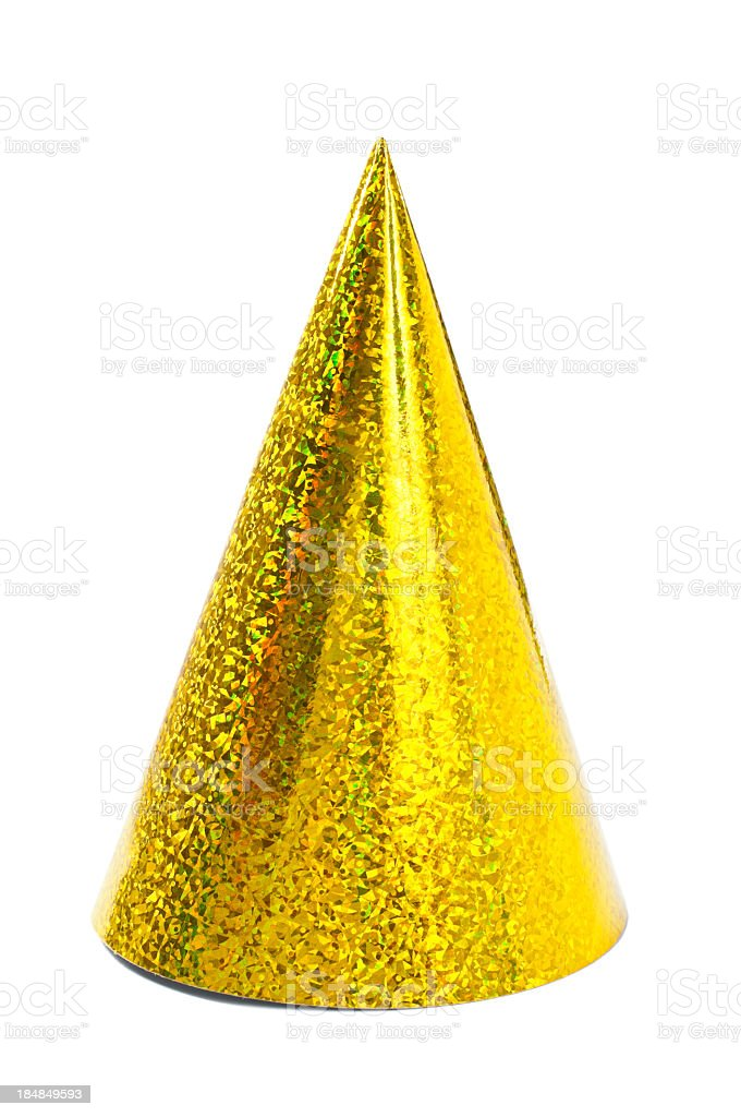 Single yellow party hat isolated on white background stock photo
