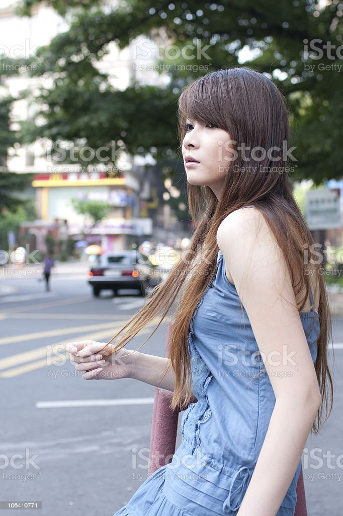 single young woman in  the street royalty-free stock photo