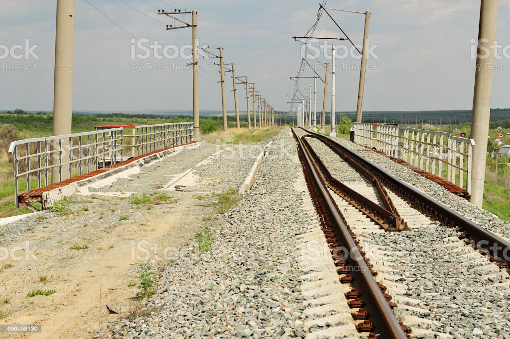 Single-track railway inactive overtake. stock photo