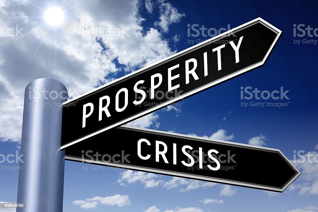 Singpost illustration, two arrows - crisis and prosperity stock photo