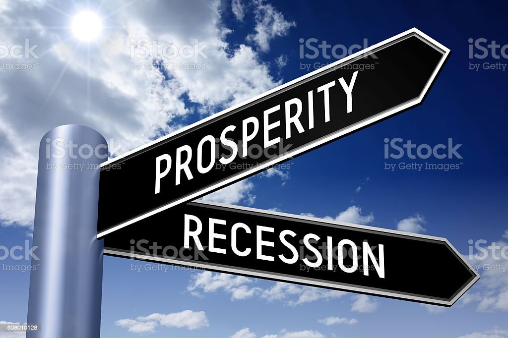 Singpost illustration, two arrows - prosperity or recession stock photo