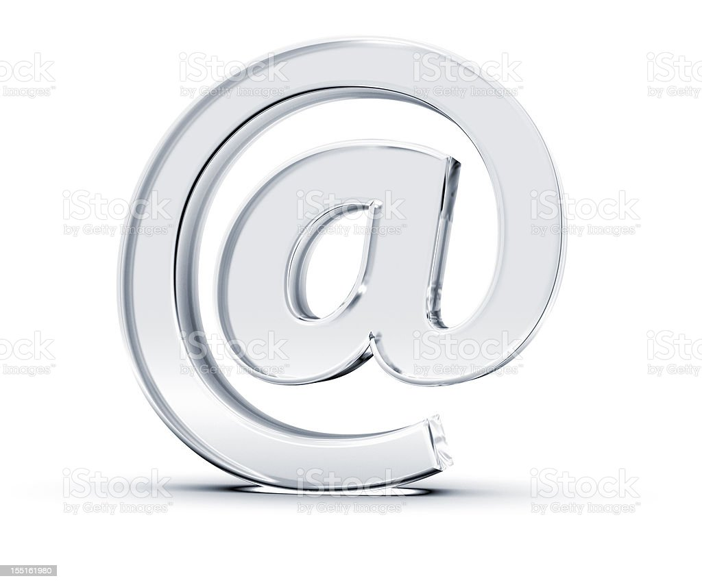 A singular at email symbol on white stock photo