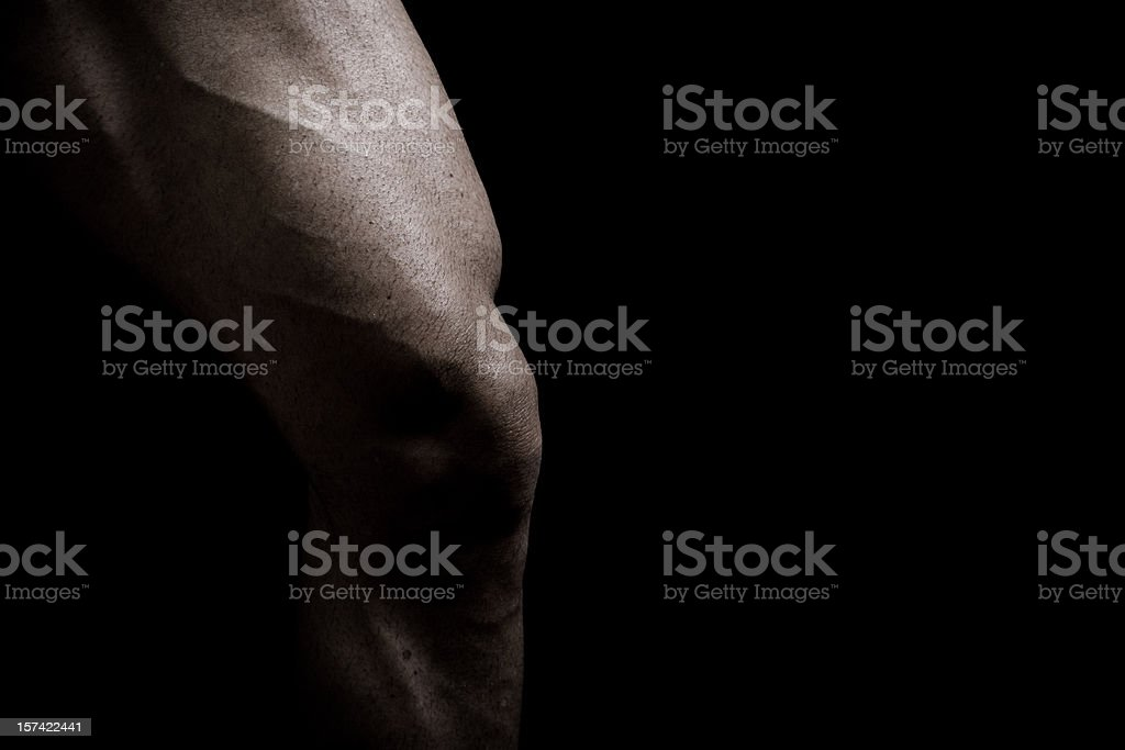 Singular Muscular Male Leg of a Bodybuilder royalty-free stock photo