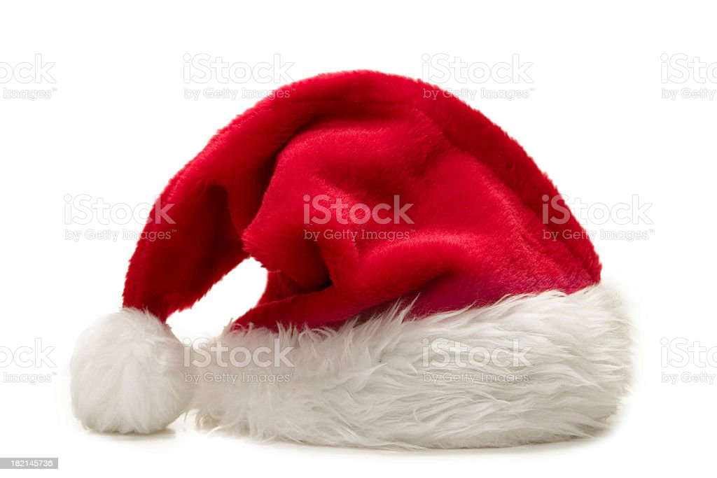 A singular santas hat for Christmas stock photo