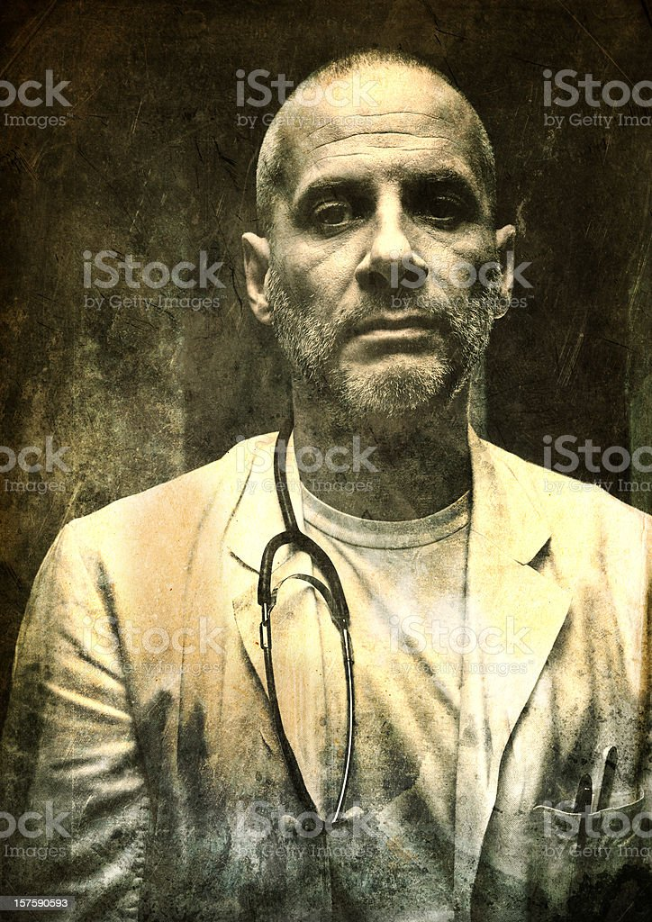 sinister doctor with texture on top stock photo