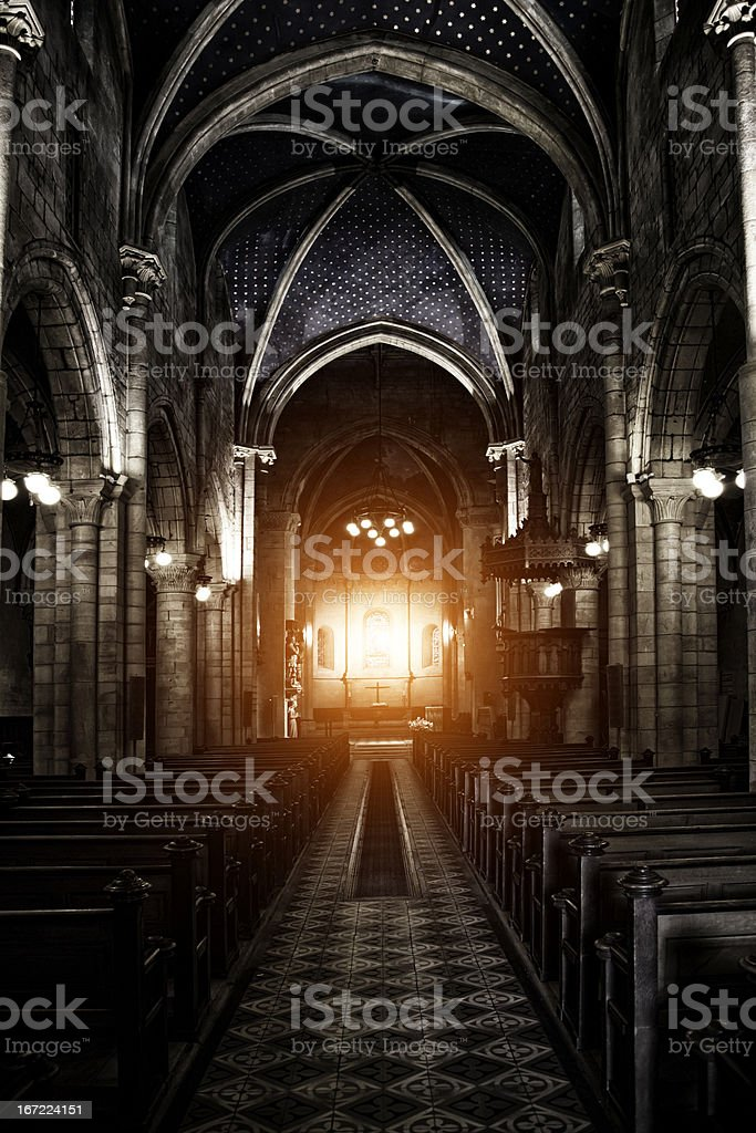 Sinister Gothic Cathedral stock photo