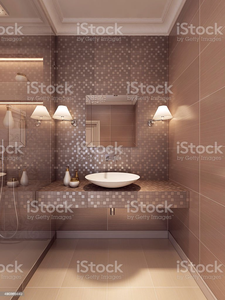Sink Console art deco with light mirror. stock photo