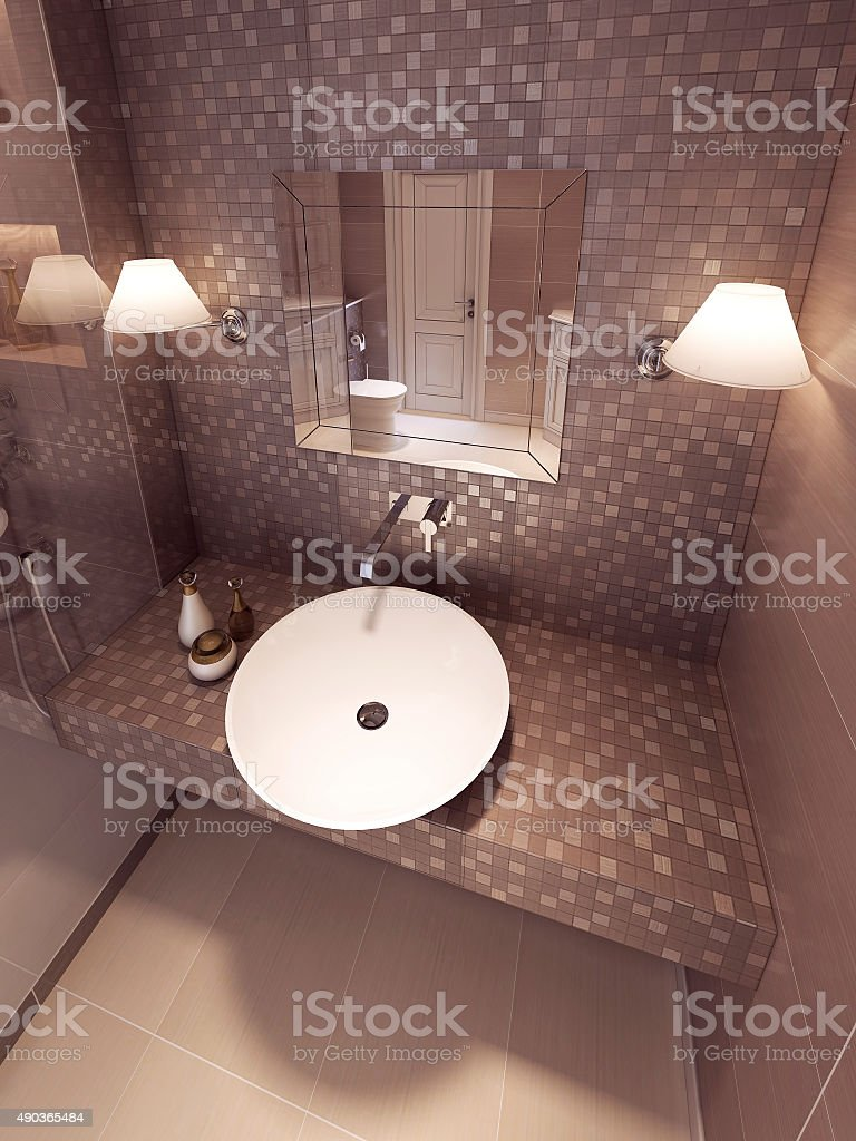 Sink Console in neoclassic style with light mirror. stock photo