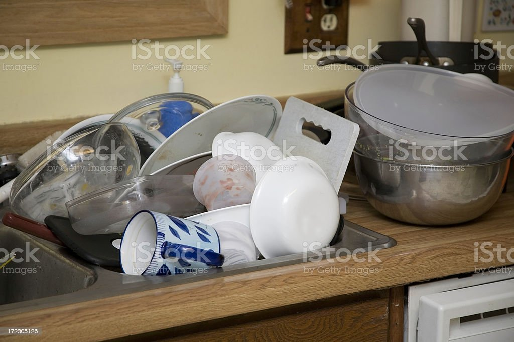 sink full o dishes royalty-free stock photo
