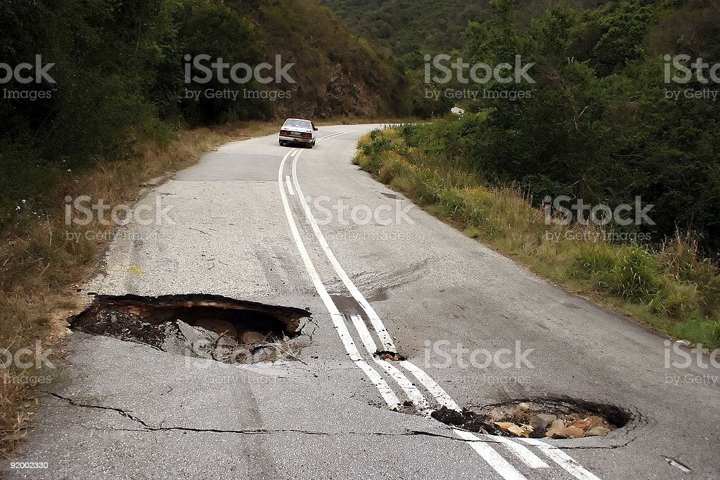 Sink Holes in Road stock photo